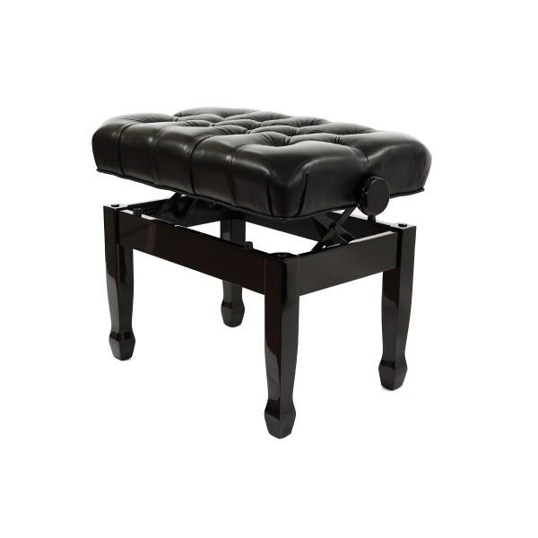 Cadenza - Real Leather Adjustable Piano Stool - Polished Ebony