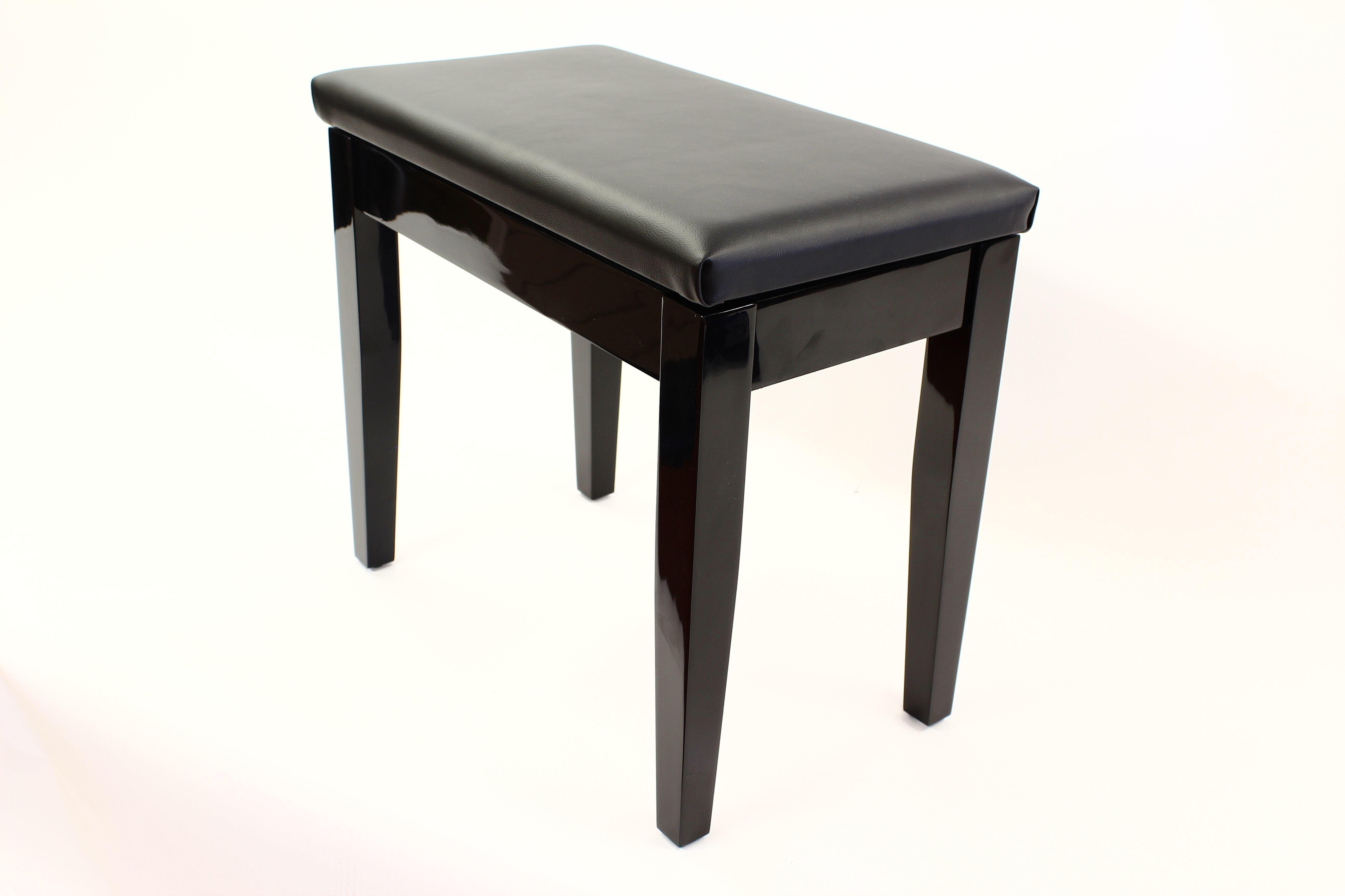 Coda Piano Stool Black with Storage 00066