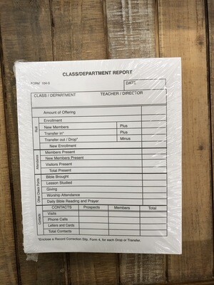 Form Sunday School Class Department Report Envelope