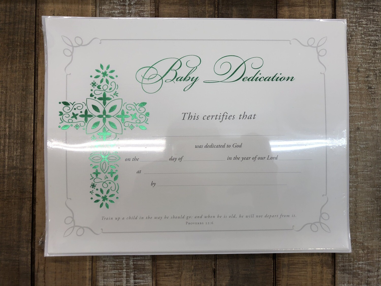 Baby Dedication Green Foil Certificates