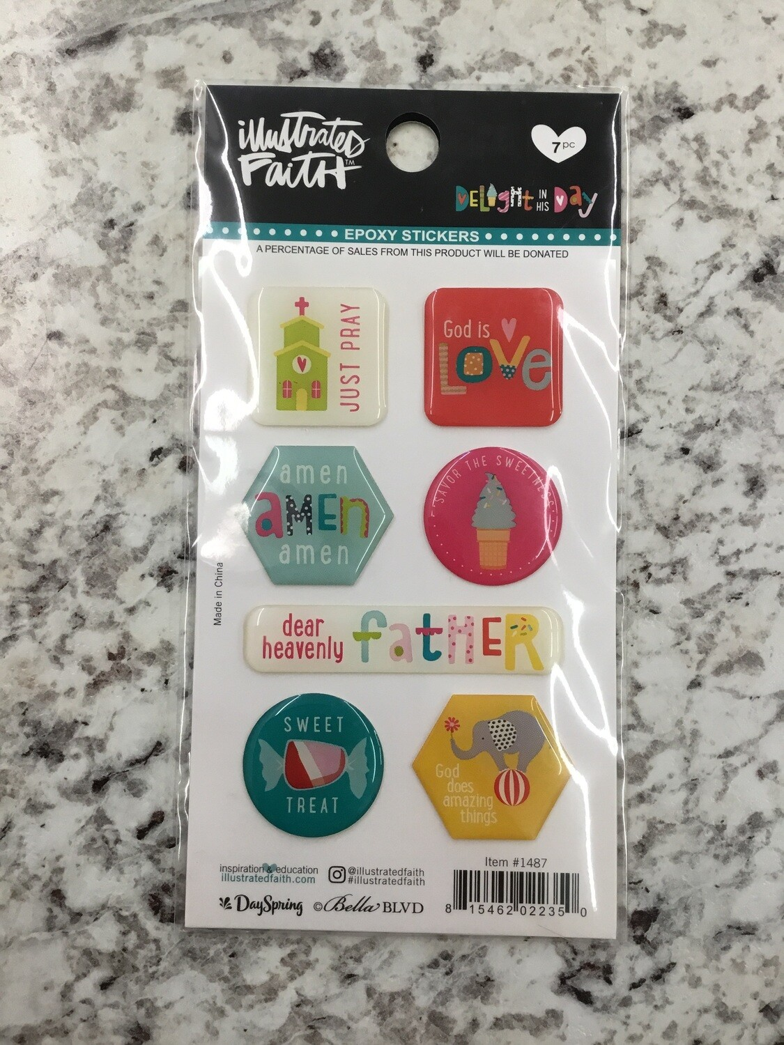 Delight In His Day Epoxy Stickers