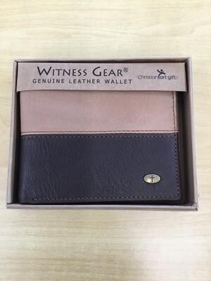 Two Tone leather Wallet w/Cross Stud
