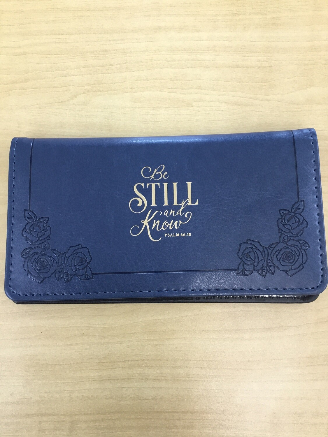 Checkbook Cover Navy Be Still