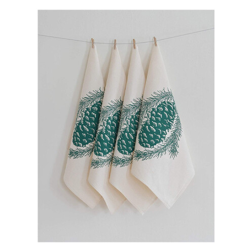 Hearth & Harrow Set of 4 Organic Cotton Napkins - Pinecone