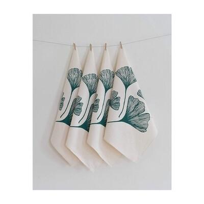 Hearth & Harrow Set of 4 Organic Cotton Napkins - Ginkgo Leaf
