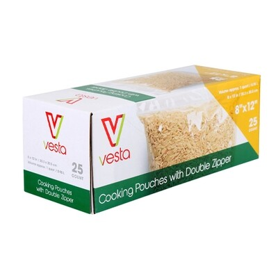 Vesta Cooking Pouches with Double Zipper - Pack of 25