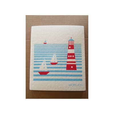 Compostable Dishcloth - Red, White & Blue Lighthouse