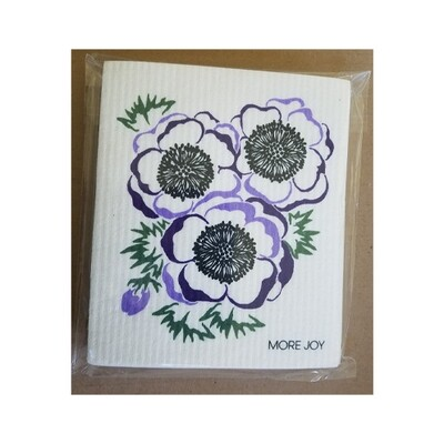 Compostable Dishcloth - Purple Anemone Flowers