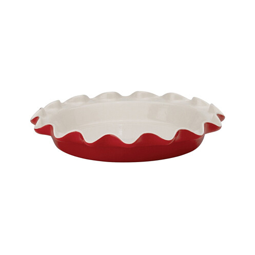 Ceramic Red Pie Dish Ruffled