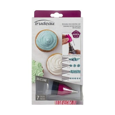 Trudeau 7 Piece Reusable Decorating Set with Metal Tips