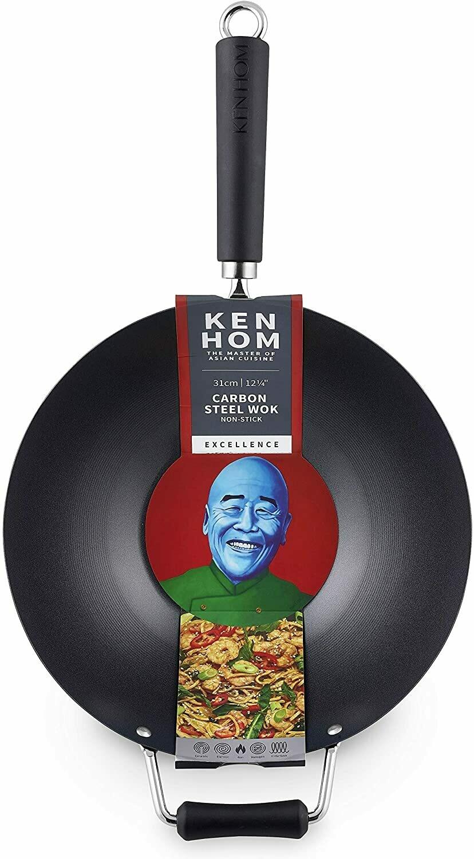 Ken Hom Carbon Steel Wok - Non-Stick 12