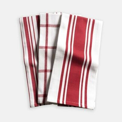 KAF Home Set of 3 Kitchen Towels - Cherry