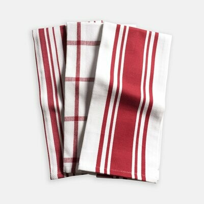 KAF Home Set of 3 Kitchen Towels - Cherry