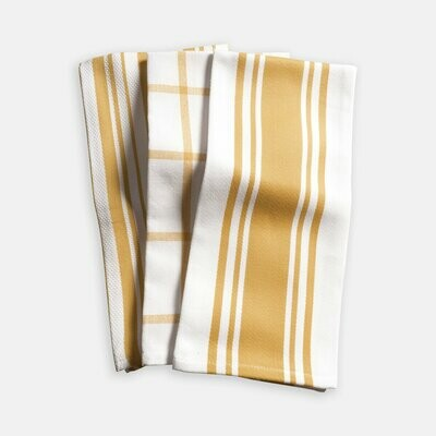 KAF Home Set of 3 Kitchen Towels - Ochre