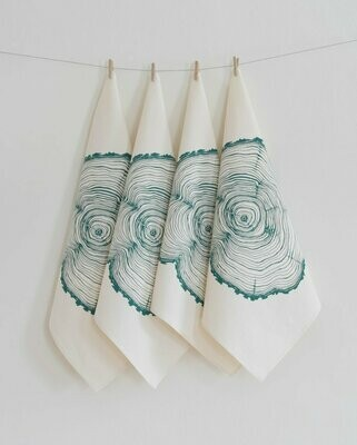 Hearth & Harrow Set of 4 Organic Cotton Napkins - Tree Ring