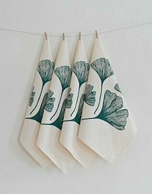 Hearth & Harrow Set of 4 Organic Cotton Napkins - Ginkgo Leaf