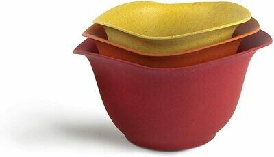 Eco-Smart Purelast Set of 3 Mixing Bowls - Red, Orange, Yellow