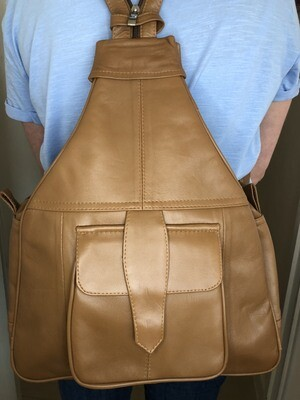 Tan Leather Rucksack Cross-Body bag