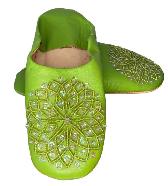Green  leather slippers with sequin decoration