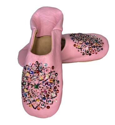 Light pink  leather slippers with multi-coloured sequin decoration