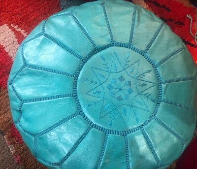 Hand Made Moroccan Tourquoise Leather Pouffe