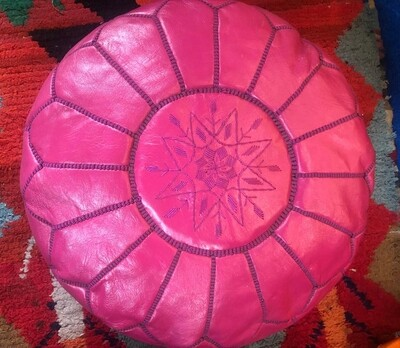 Hand Made Moroccan Dark Pink Leather Pouffe