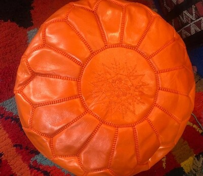 Hand Made Moroccan Orange Leather Pouffe