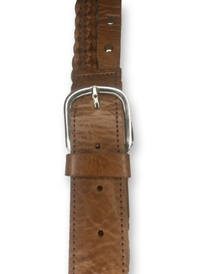 Men's Moroccan Leather Belt Featuring Plaiting & Studs