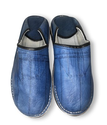 Men's Blue Organic Leather Moroccan Babouche Slippers