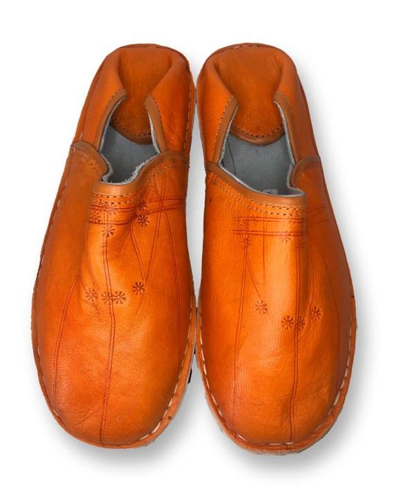 Men's Orange Organic Leather Moroccan Babouche Slippers
