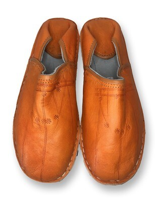 Men's Orange Organic Leather Moroccan Babouche Slippers