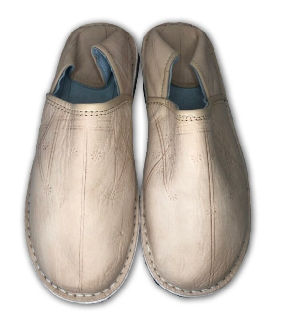 Men's Beige Organic Leather Moroccan Babouche Slippers