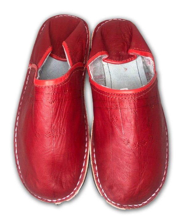 Men's Dark Red Organic Leather Moroccan Babouche Slippers