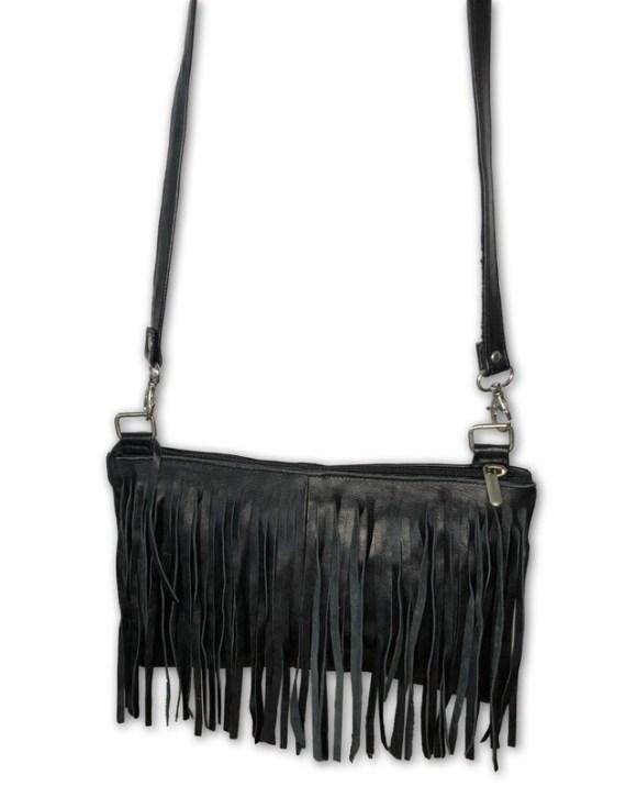 Black Moroccan Leather Tasselled Shoulder Bag