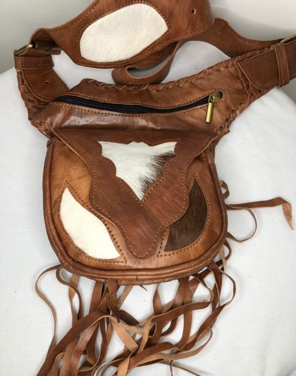 Tan Moroccan Leather Hip Bag/Waist Bag/Cross Body Bag