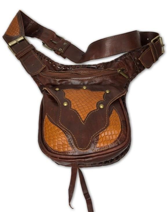Dark Brown & Orange/Tan Moroccan Leather Hip Bag/Waist Bag/Cross Body Bag