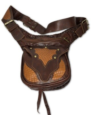 Dark Brown & Orange/Tan Moroccan Leather Hip Bag/Waist Bag/Cross Body Bag