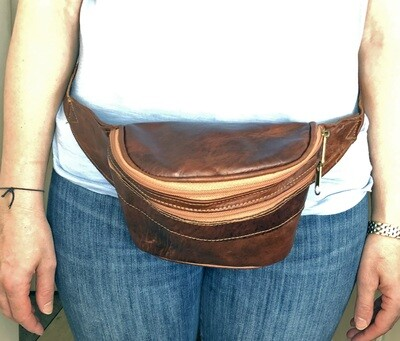 Brown Moroccan Leather Hip Bag/Waist Bag/Cross Body Bag