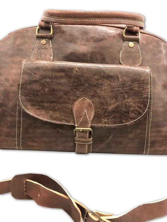 Vintage-Look Brown Moroccan Leather Weekend Bag