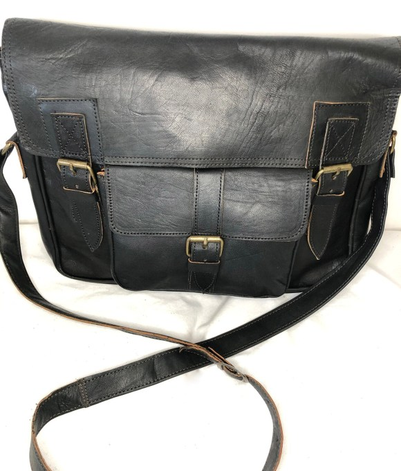 Black Moroccan Leather Satchel or School Bag