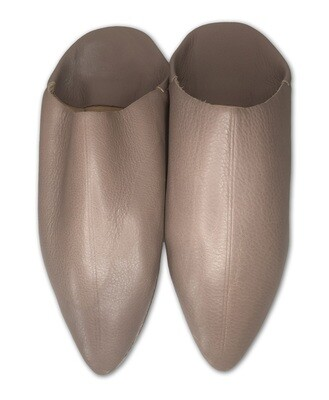 Men's Plain Pointed Dark Beige Organic Leather Moroccan Babouche Slippers