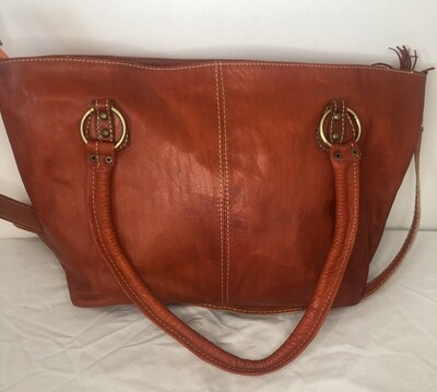 Burnt Orange Moroccan Leather Tote Bag Cross Body Shopper