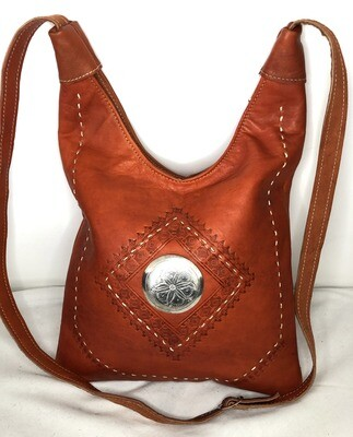 Burnt Orange Moroccan Embossed Leather Hobo Bag Cross Body Shopper