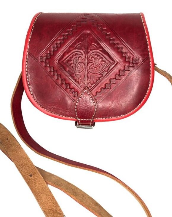 Dark Red Moroccan Embossed Leather Saddle Bag Shoulder Bag