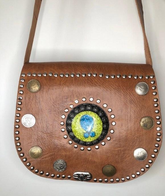 Vintage-Look Brown Moroccan Leather Saddle Bag Shoulder Bag with Coins