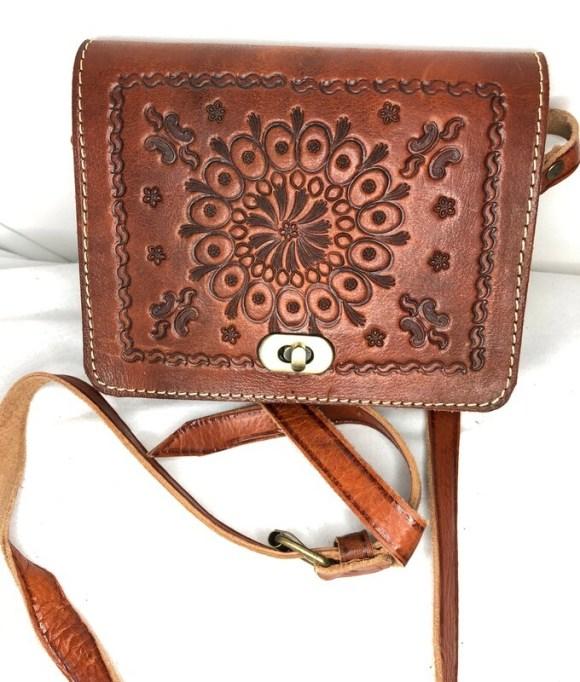 Square Dark Tan Leather Embossed Shoulder Bag Handbag