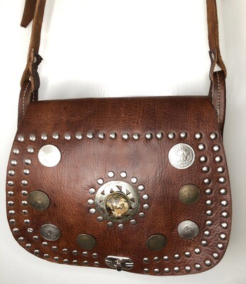 Vintage-Look Dark Tan Moroccan Leather Saddle Bag Shoulder Bag with Coins