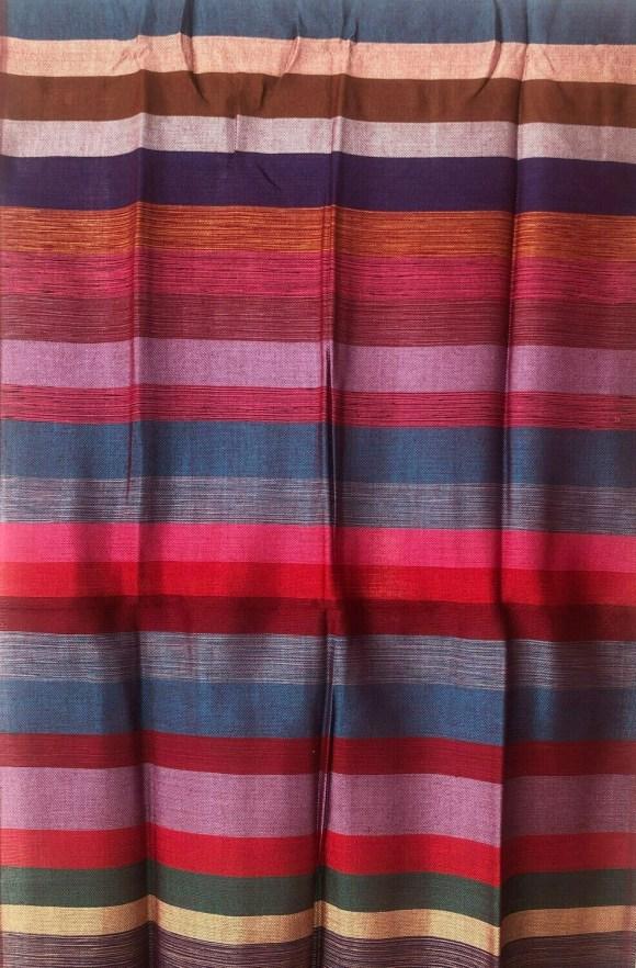 Handmade Moroccan Red Pink Blue Brown Striped Sabra Silk Scarf