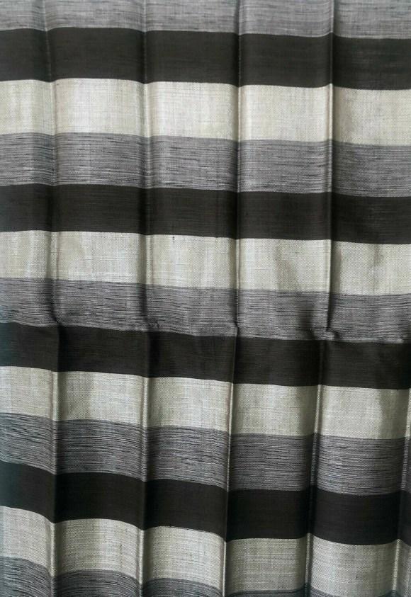Handmade Moroccan Black and Grey Striped Sabra Silk Scarf
