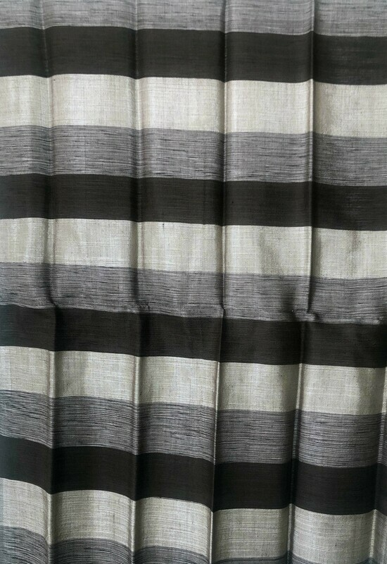 Handmade Moroccan Black and Grey Striped Sabra Silk Scarf